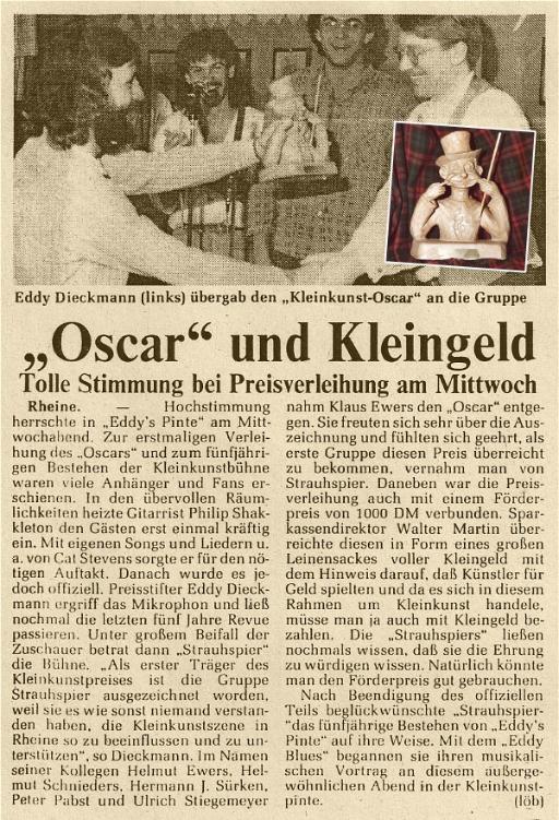 """Strauhspier - Kulturpreise - """"Oscar"""" und Kleingeld (1/1986)"""