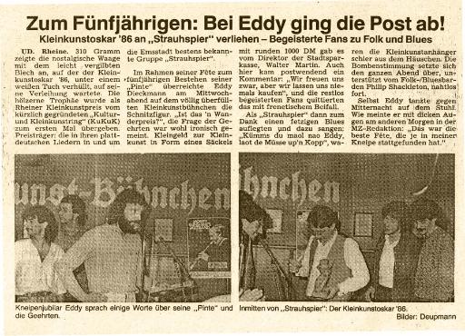 Strauhspier - Kulturpreise - Zum Fünfjährigen: Bei Eddy ging die Post ab! (1/1986)