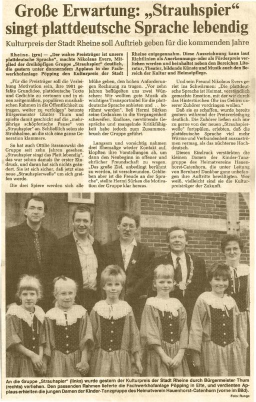 """Strauhspier - Kulturpreise - Große Erwartung: """"Strauhspier"""" singt plattdeutsche Sprache lebendig (11/1991)"""
