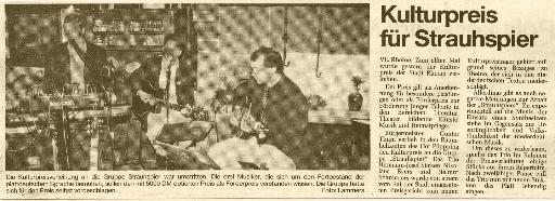 Strauhspier - Kultutpreise -  Kulturpreis für Strauhspier (11/1991)